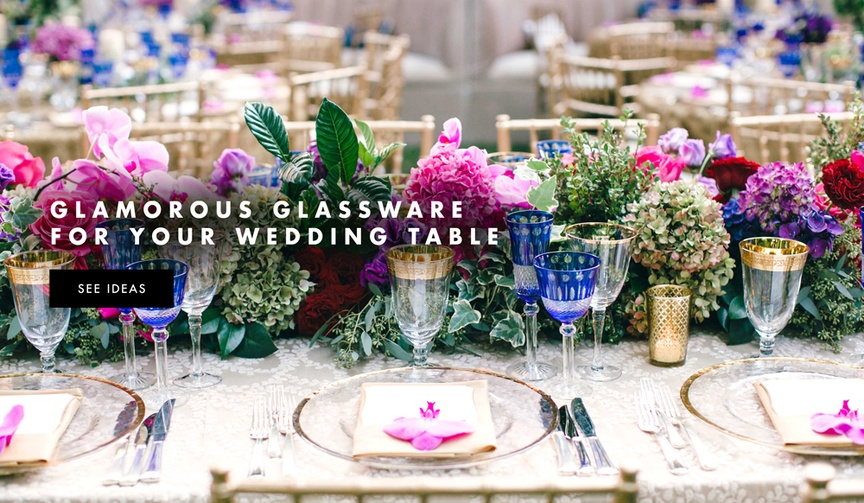 Add color to your reception table with colored glassware and drinkware