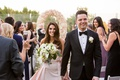 bride in le spose di gio blush gown groom in black suit, london west hollywood rooftop ceremony