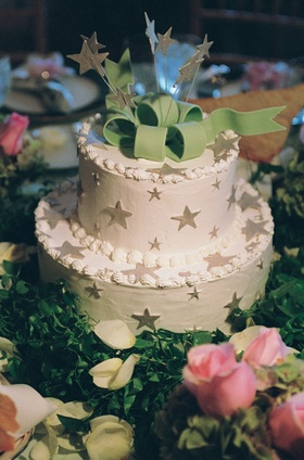 Two layer wedding cake with star decorations