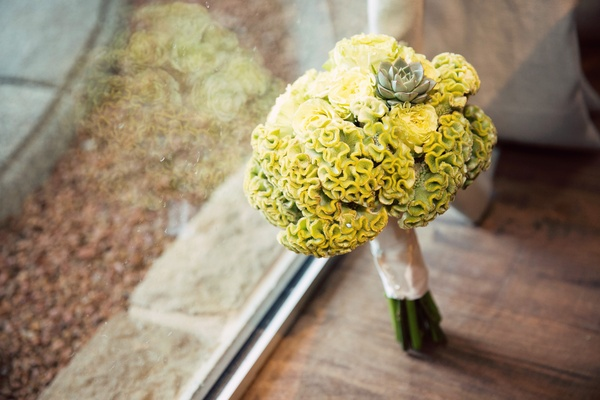 yellow cockscomb bridesmaid bouquet with succulent accent