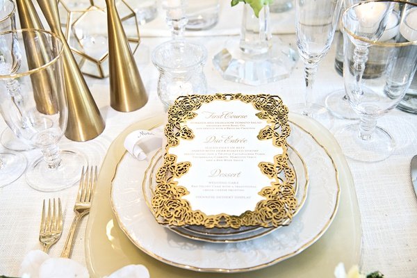 gold laser-cut border for wedding reception dinner menu