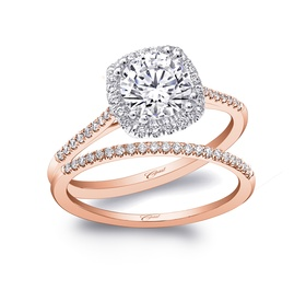 Rose Gold collection thin ring and band with square halo