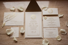 Wedding invitation white stationery with gold lettering gold foil cursive calligraphy