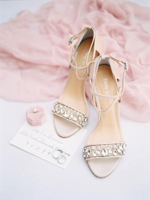 wedding shoes crystal details on strappy high heels ankle straps invitation pink ring box solitaire