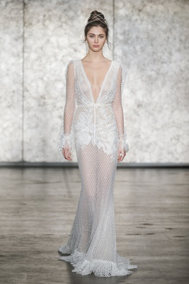 Inbal Dror Fall 2018 V-neck and back crochet lace long-sleeve sheath