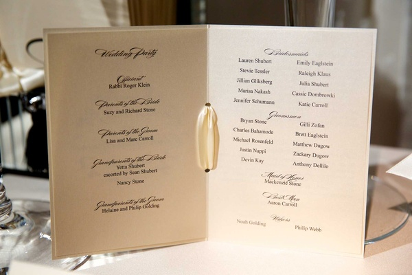 Wedding ceremony program of Chad Carroll and Jennifer Stone with black and white theme
