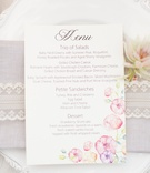 Pastel watercolor flower design on bridal shower menu card