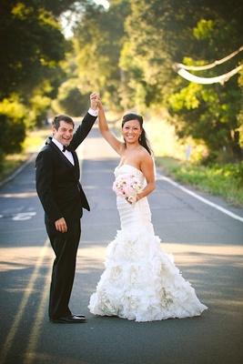 Asian bride in Monique Lhuillier strapless wedding dress