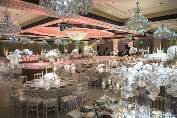 four seasons westlake village ballroom, chandeliers, orchids, white, silver, blush color scheme