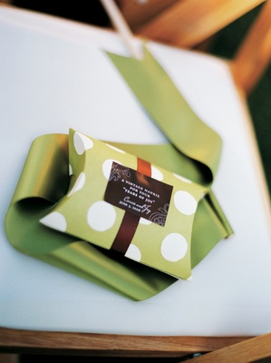 Green and white polka dots on wedding favors box