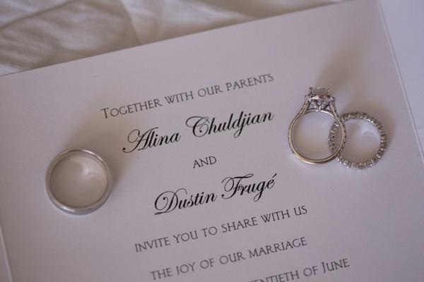 Classic wedding invitation with diamond eternity band, men's band, diamond engagement ring on top
