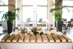 escort cards gold frames miniature small flowers indoors southern california