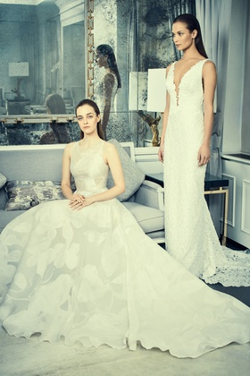 Romona Keveza Collection Bridal organza ball gown with boat neckline rhinestone buttons