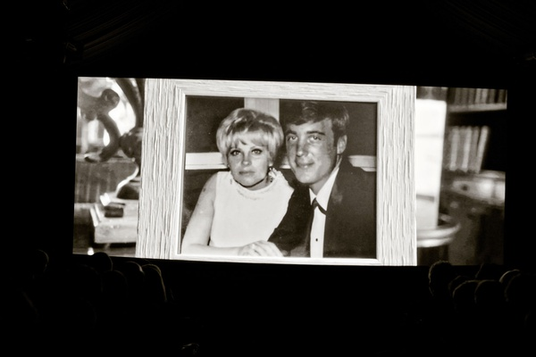 50 wedding anniversary party with black and white photo of couple when they met wedding day