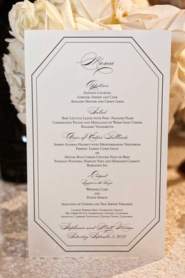 Black and white dinner menu wedding reception art deco vintage details