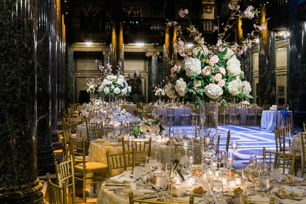 gold reception space florals greenery classic catholic carnegie museum hall roman italian
