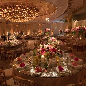 beverly hills hotel ballroom wedding reception pink roses hanging from chandelier dance floor pink