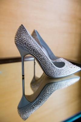 Manolo Blahnik silver shoes with rhinestones