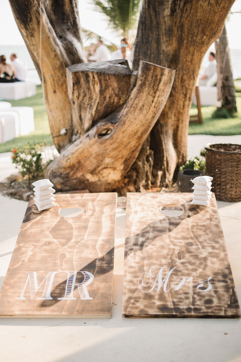 Wedding games lawn wood cornhold board with white bean bags mr and mrs boards by tree destination