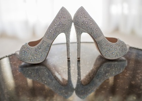 lauren lorraine peep toe pumps with strassed crystals