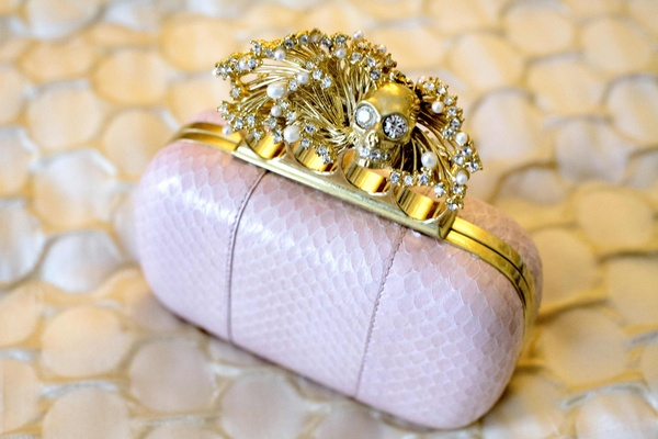 Bridal bag with gold skull finger hardware