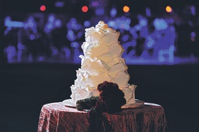 Wedding cake in the shape of gold-tipped rose petals