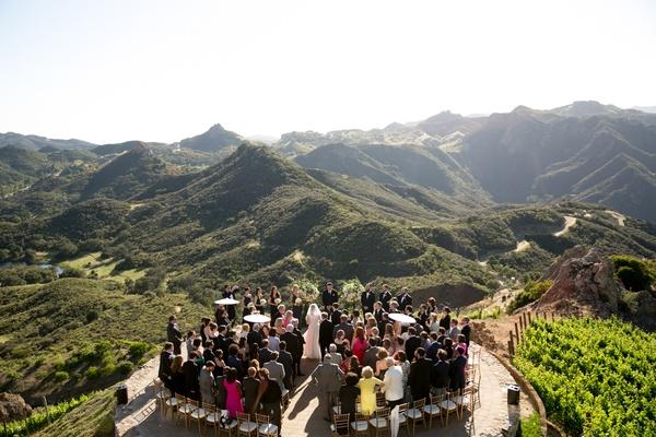 malibu rocky oaks wedding with outdoor ceremony on helipad, santa monica mountains