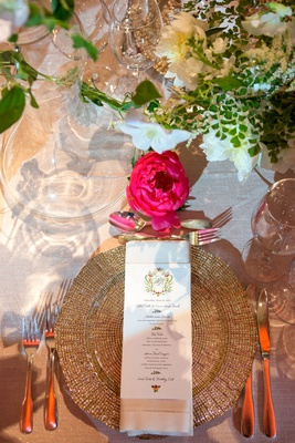 Wedding reception gold charger plate napkin gold flatware pink peony flower design monogram on menu