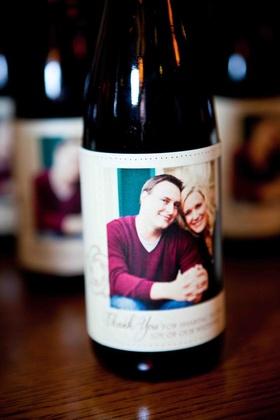 Portrait of couple on half-bottle favors