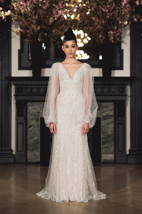 Ines Di Santo Spring 2019 collection long sleeve v-neck sheath gown with godets
