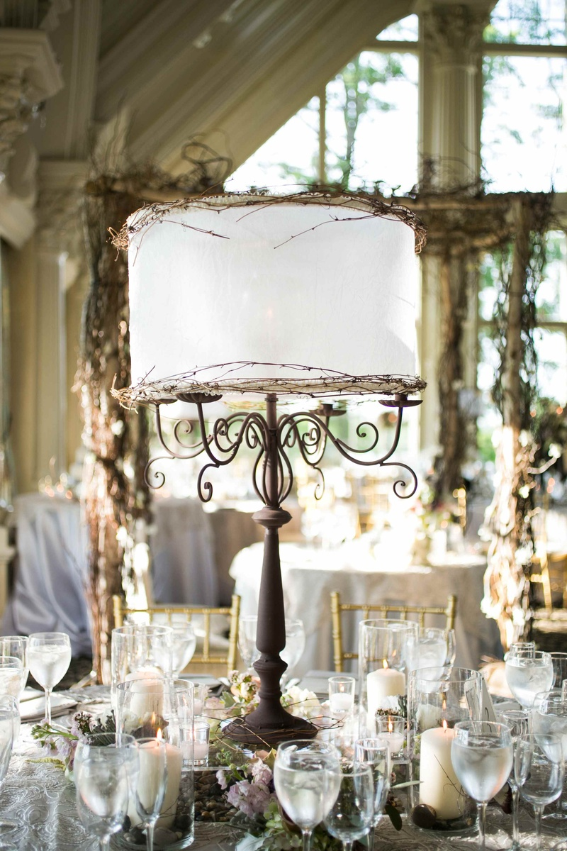 wedding destinations in new jersey%0A     Iron candelabra centerpiece with white lamp shade and branches
