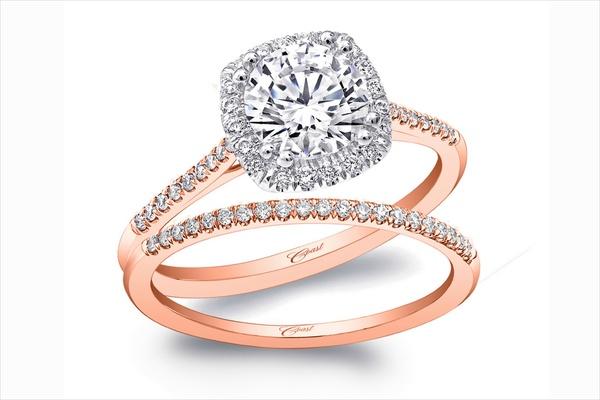 Coast Diamond rose gold diamond halo engagement ring and band