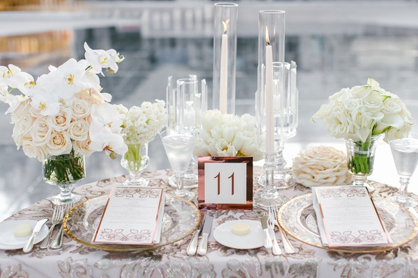 wedding reception decor sweetheart table matthew lawrence cheryl burke wedding white flowers gold