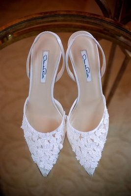 Oscar de la Renta wedding shoes with flowers