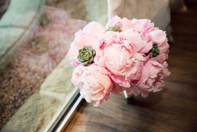 bridesmaid bouquet with pink peonies and green succulents