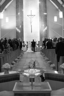 aisle of church ceremony facing altar