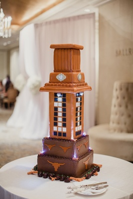 Wedding cake with Texas Longhorns University of Texas at Austin groom's cake