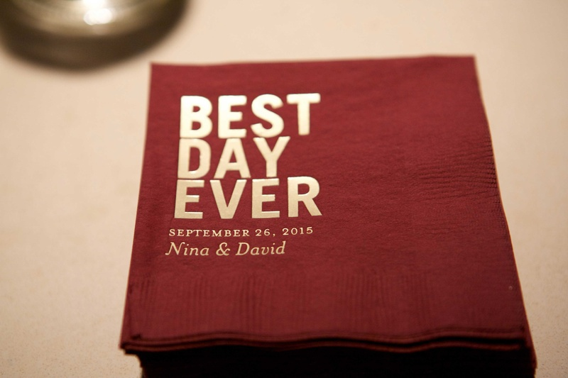 Cocktail napkins with gold foil best day ever and wedding date couple names personalized details