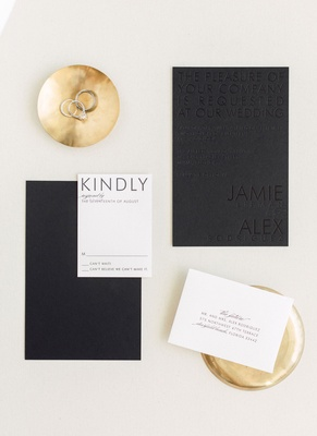 Wedding invitation black and white color palette invite with black stationery and black lettering