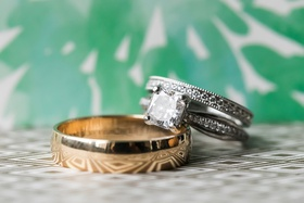 princess-cut diamond engagement ring, pavé wedding ring with milgrain detail, plain yellow gold band