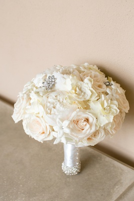 White wedding bouquet with pearl wrap rose stephanotis peony gardenia