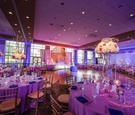 purple and blue reception uplighting