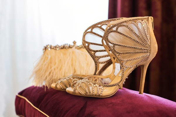 Jimmy Choo heels with rhinestones and ankle design