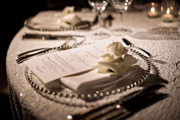 White sequin table linen wedding reception rose bloom on menu