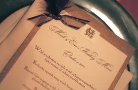 wedding menu calligraphy on white and brown paper