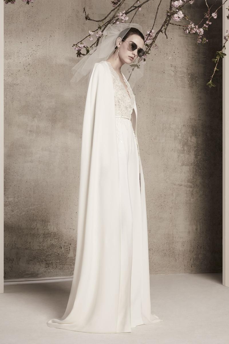 Wedding Dresses Photos V Neckline Jumpsuit With Long Bridal Cape