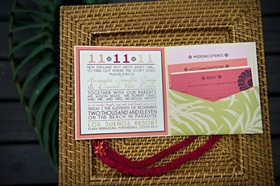Tropical wedding invite on top of rattan charger