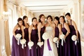 Bride with bridesmaids in plum gowns and white bouquets