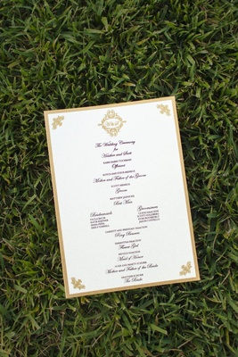 Ceremony card with wedding party names