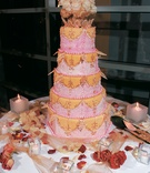 Five layer cake with marbled fondant design